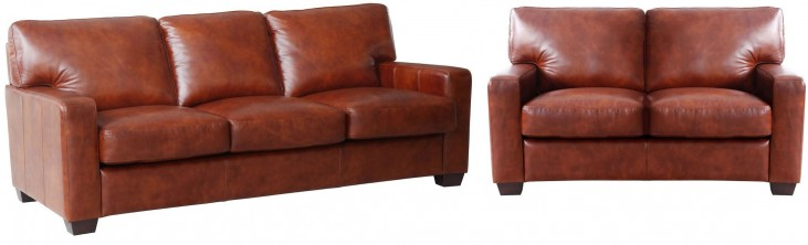 Aberdeen Auburn Top Grain Leather Living Room Set