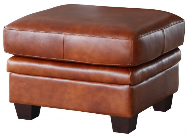 Aberdeen Auburn Top Grain Leather Ottoman