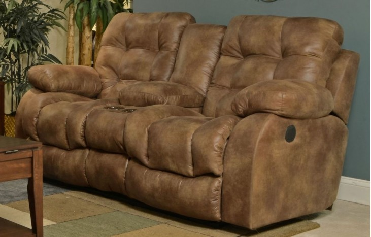 Watson Almond Reclining Loveseat with Console
