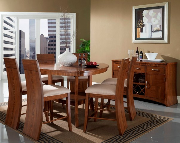 Milan Triangular Counter Height Dining Room Set