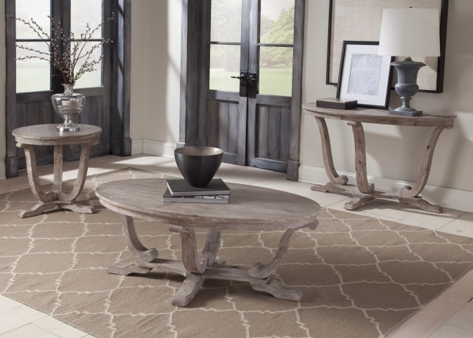 Greystone Mill Stone White Wash Oval Occasional Table Set