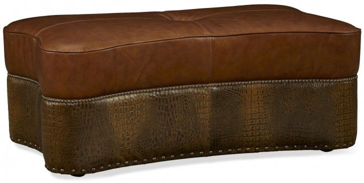 Kasey Gator Tail Chocolate Cocktail Leather Ottoman