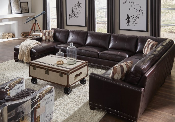 Bozeman Dark Chocolate Vintage Leather LAF Sectional