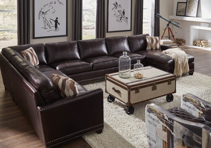 Bozeman Dark Chocolate Vintage Leather RAF Sectional