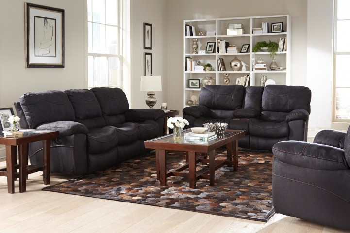 Terrance Black Power Reclining Living Room Set