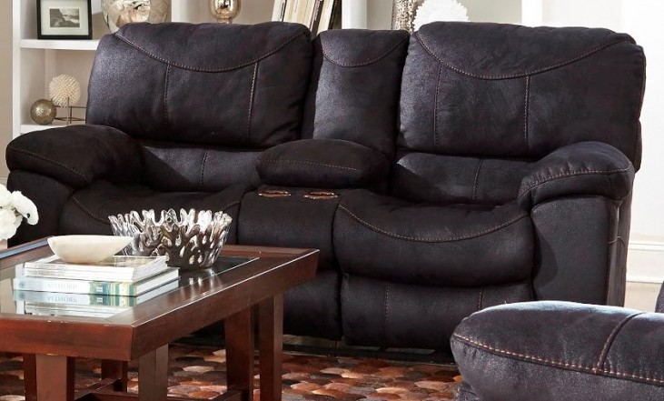 Terrance Black Power Reclining Console Loveseat