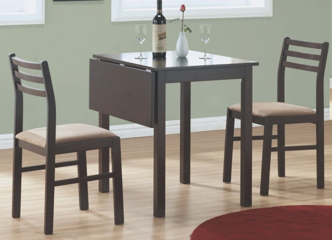 1078 Cappuccino 3Pcs Drop Leaf Extendable Dining Set