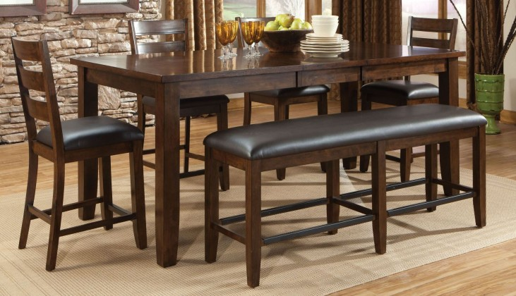 Abaco Warm Dark Tobacco Square Extendable Counter Height Dining Room Set