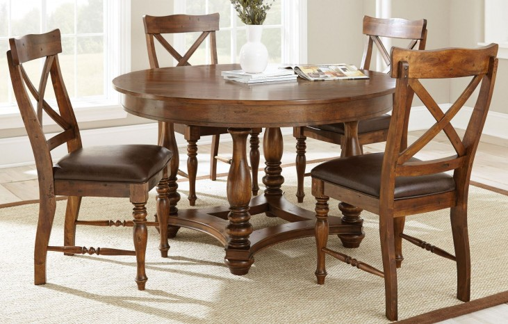 Wyndham Medium Cherry Round Dining Room Set