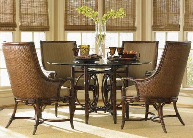 "Landara Coral Sea Rattan 54"" Round Dining Room Set"
