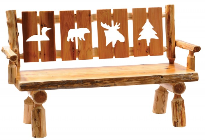 "Cedar 60"" Cut-out Back & Armrests Log Bench"