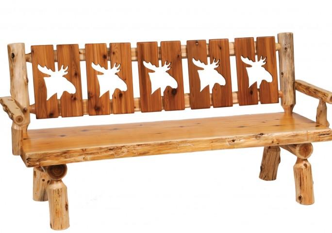 """Cedar 72"""" Cut-out Back & Armrests Log Bench"""