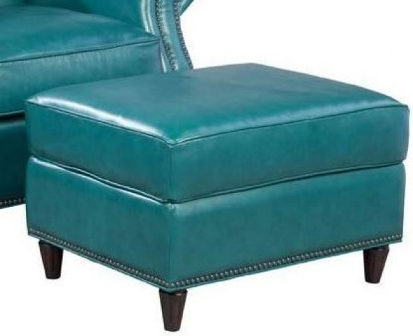 Easton Vintage Peacock Leather Ottoman