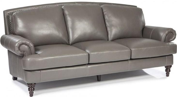 Juliette Battleship Grey Leather Sofa