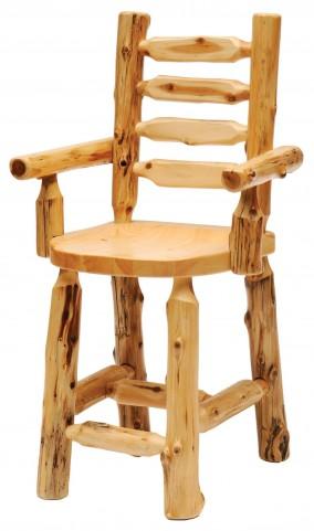 Cedar Ladder Back Counter Height Log Arm Chair