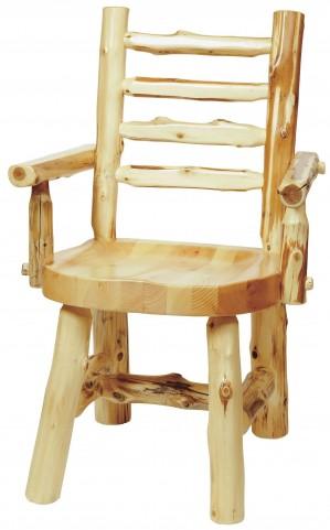 Cedar Ladder Back Log Arm Chair