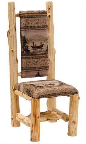 Cedar Upholstered High Back Log Side Chair