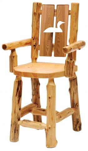 Cedar Cut-Out Loon Counter Height Log Side Chair