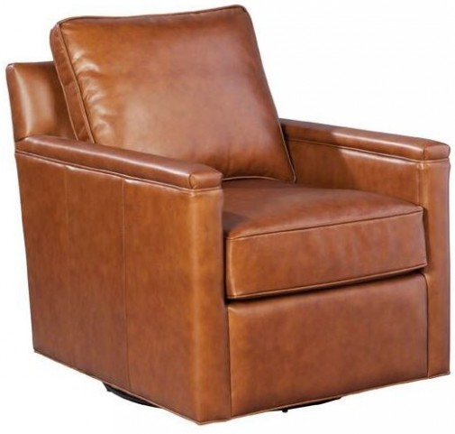 Alexandria Berkshire Maple Swivel Leather Chair