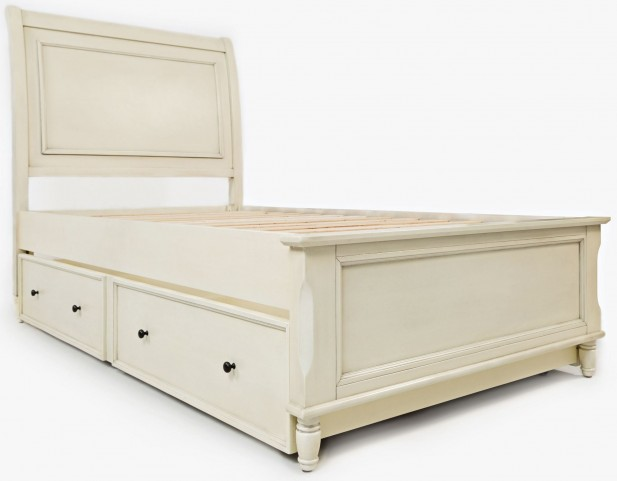 Avignon Ivory Twin Panel Bed with Trundle Bed