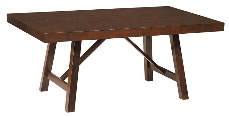 Omaha Burnished Saddle Brown Trestle Extendable Table