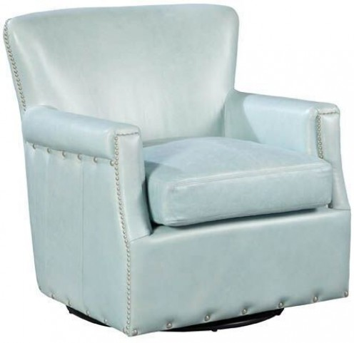 Cary Weston Blue Ice Swivel Leather Chair