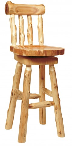 "Cedar 24"" Log Counter Stool with Backrest"