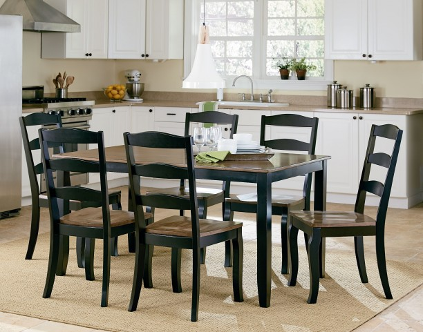 Highland Brown and Black 7 Piece Dining Room Set