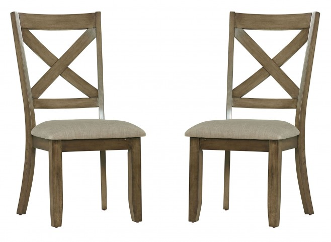 Omaha Weathered Burnished Grey X-Back Side Chair Set of 2
