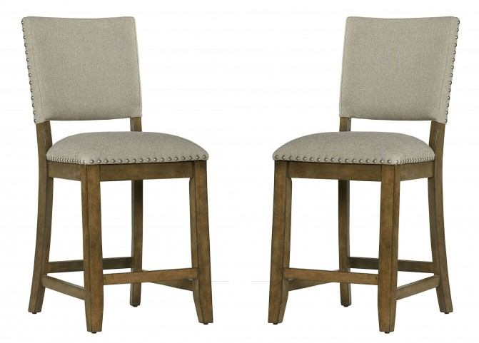 Omaha Weathered Burnished Grey Upholstered Counter Barstool Set of 2