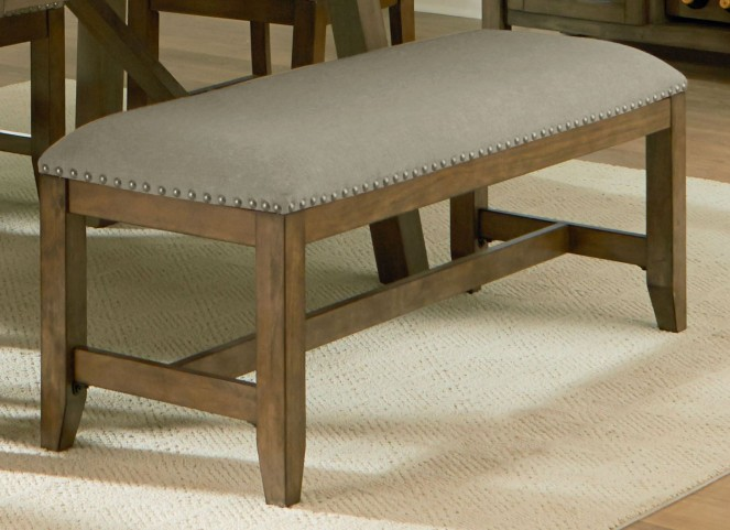 Omaha Weathered Burnished Grey Upholstered Bench