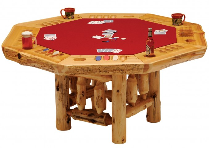 Cedar 8 Sided Log Framework Base Poker Table