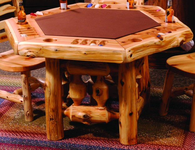 Cedar Log Framework Base 6 Sided Poker Table