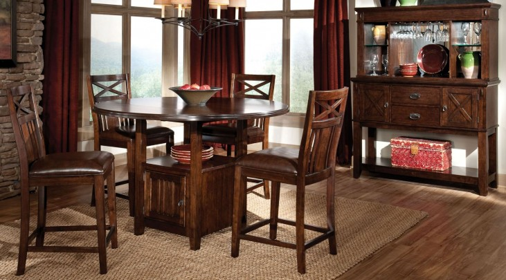 Sonoma Warm Medium Oak Round Drop leaf Counter Dining Room Set