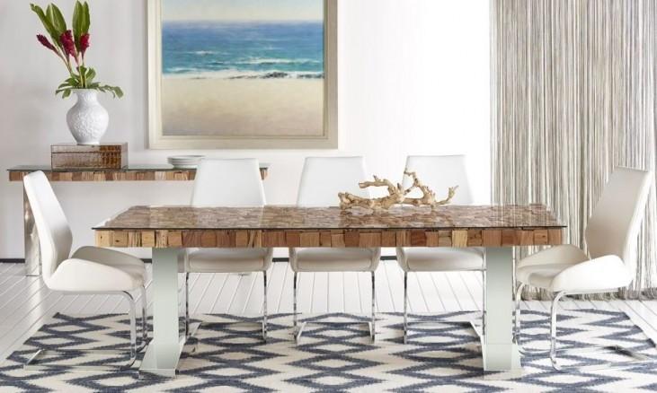 Taj Trapasso Stainless Steel Dining Room Set with Regis Caro Dining Chairs