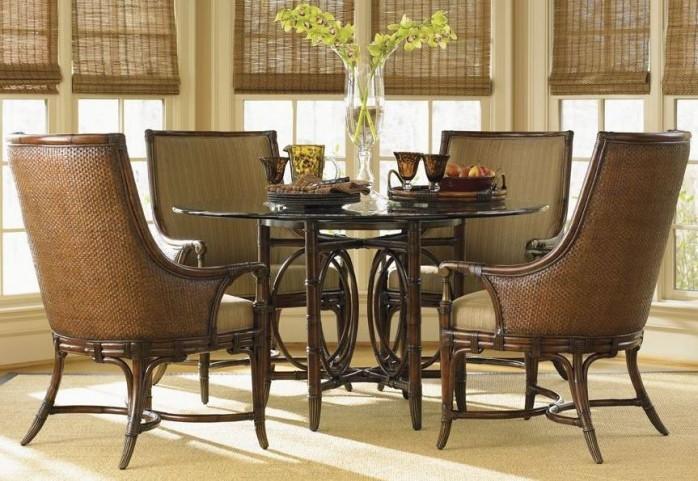 "Landara Coral Sea Rattan 60"" Round Dining Room Set"