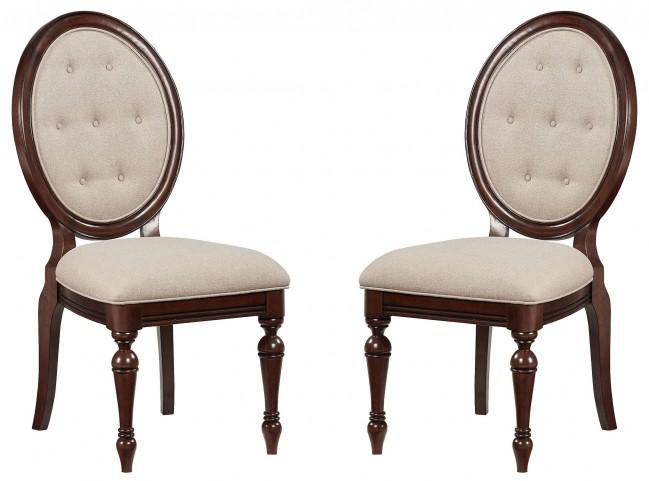 Carrington Chestnut Brown Upholstered Side Chair Set of 2