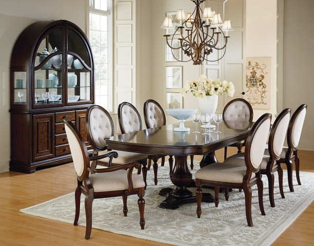 Carrington Chestnut Brown Double Pedestal Extendable Dining Room Set