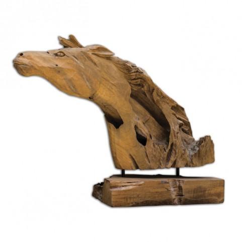 Teak Horse Sculpture