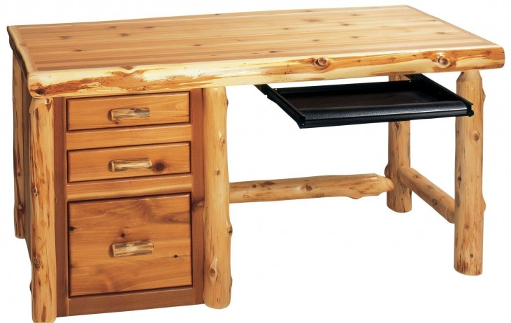 Cedar Standard Right Side File Desk With Keyboard Slide