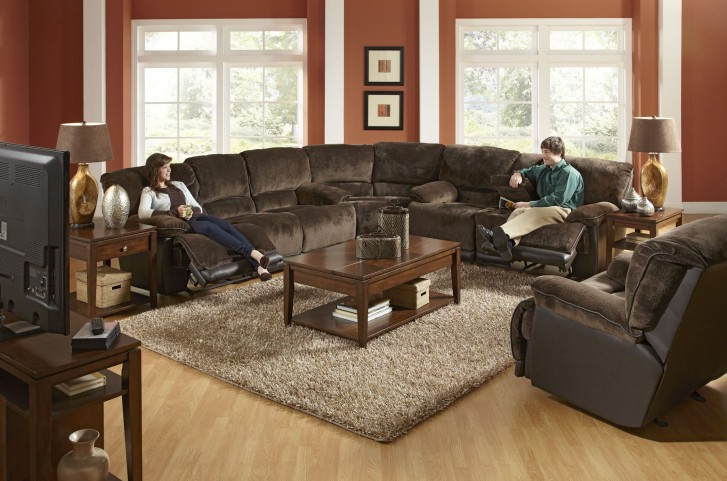 Escalade Chocolate Power Reclining Sectional