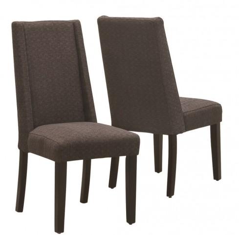 1721BR Dark Brown Linen Side Chair Set of 2