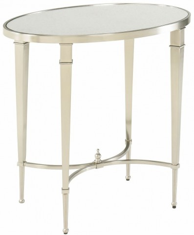 Mallory Satin Nickel Oval Shelf End Table