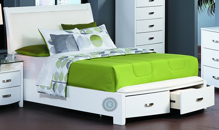 Lyric White King Sleigh Storage Bed