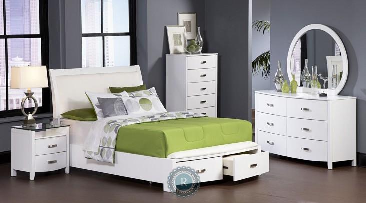 Lyric White Sleigh Storage Bedroom Set