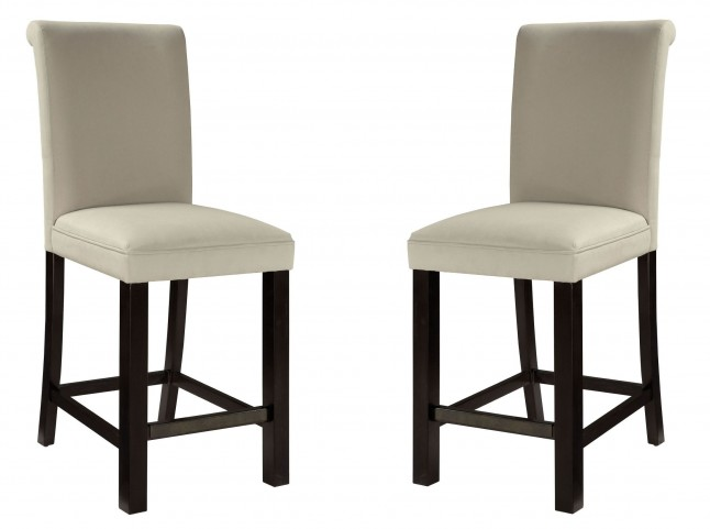 Gateway Brown and White Parson's Upholstered Barstool Set of 2