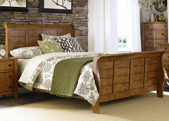 Grandpa's Cabin Aged Oak Queen Sleigh Bed