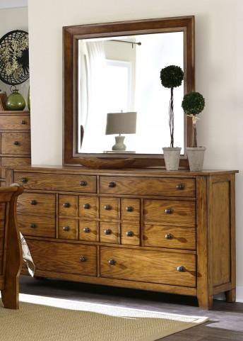 Grandpa's Cabin Aged Oak 7 Drawer Dresser