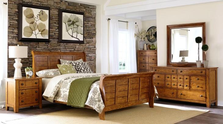 Grandpa's Cabin Aged Oak Sleigh Bedroom Set