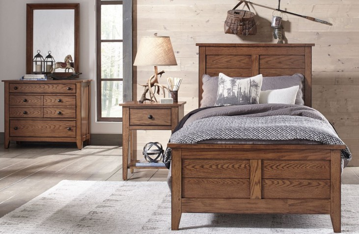 Grandpa's Cabin Aged Oak Youth Panel Bedroom Set